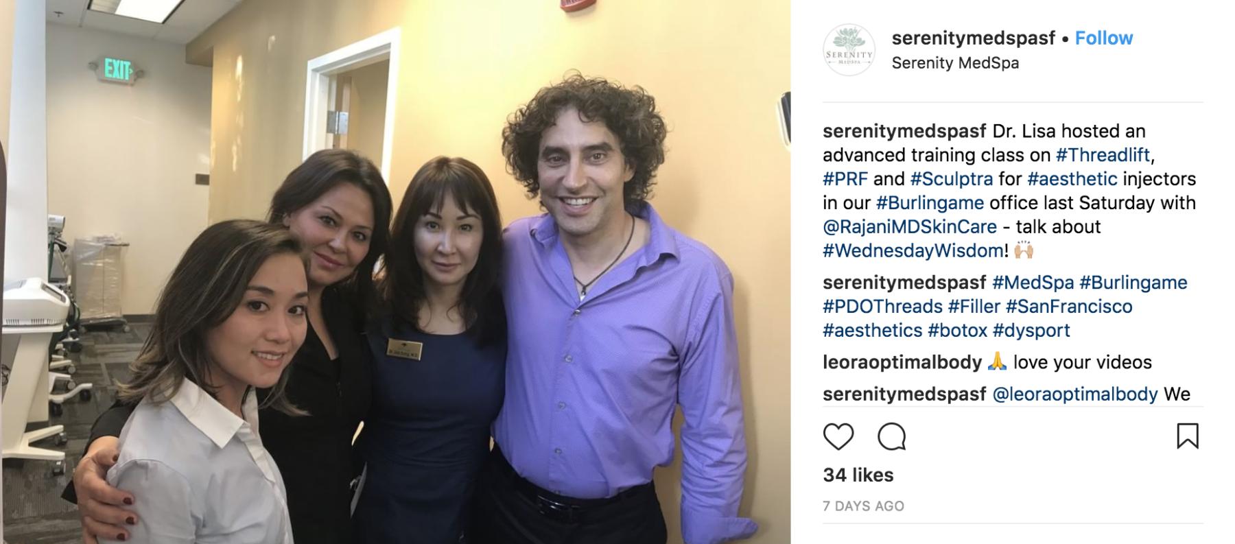 RajaniMD Training At Serenity Med Spa In San Francisco